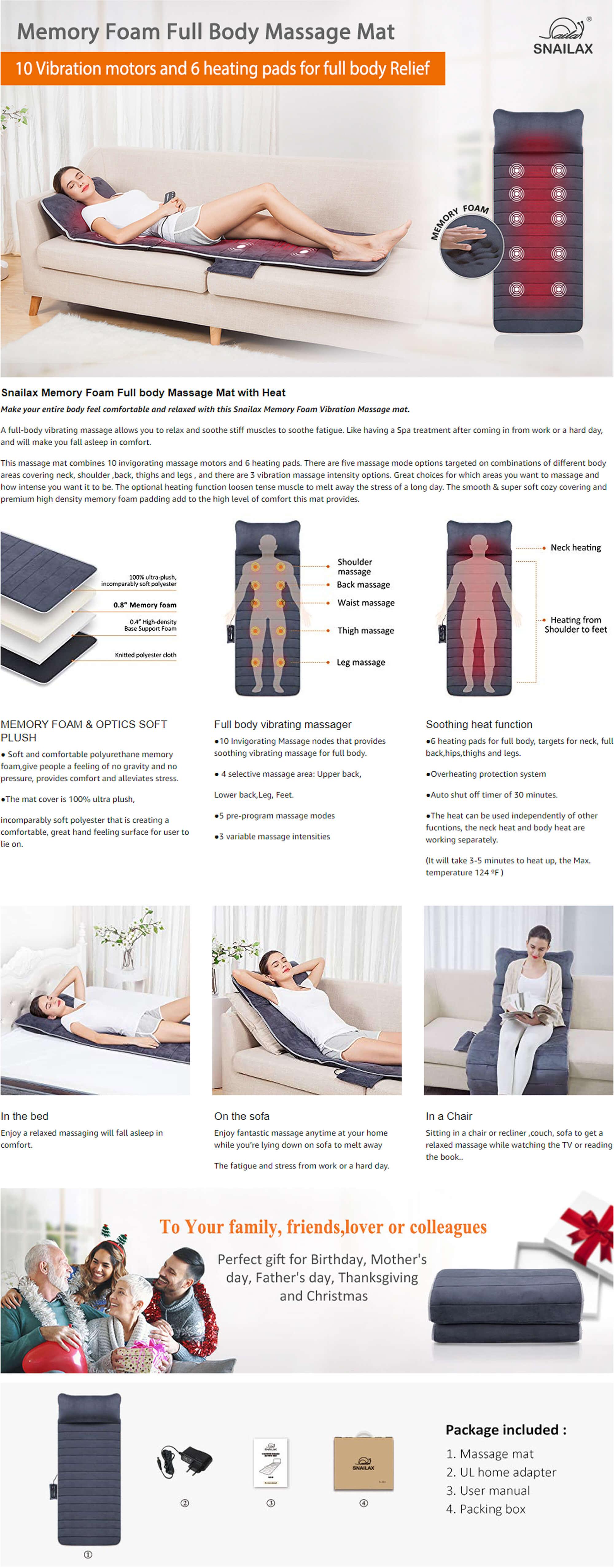 Snailax Memory Foam Full Body Vibration Massage Mat Features