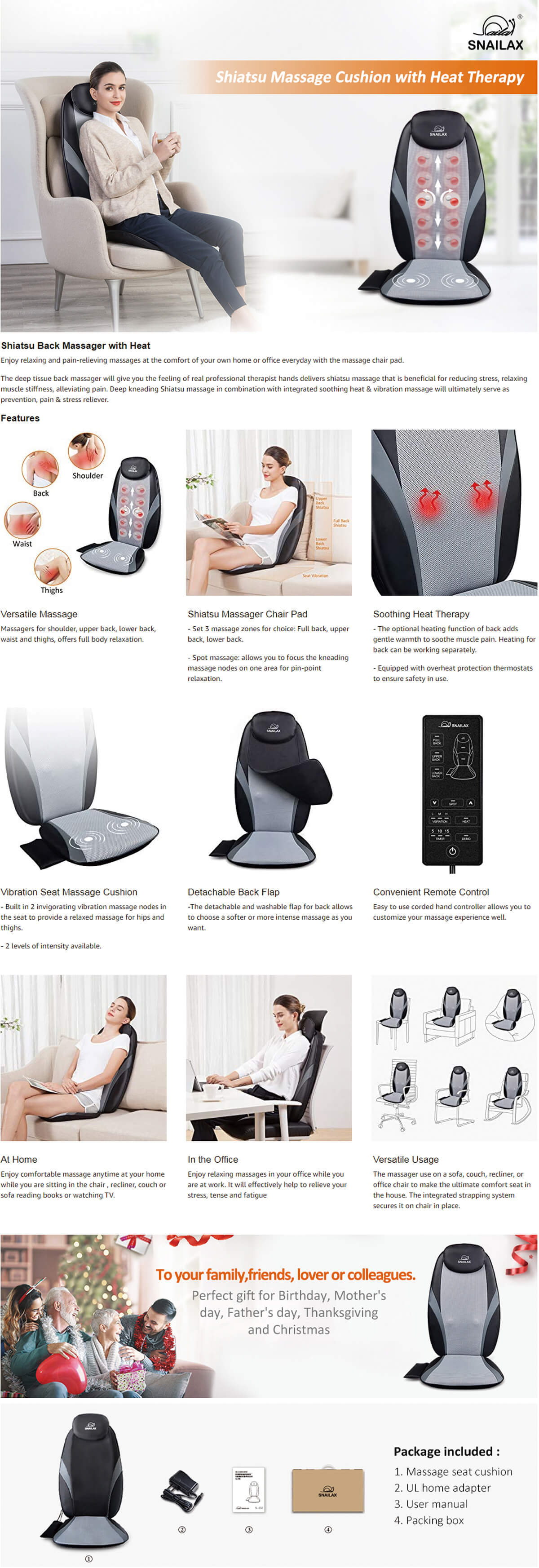 Snailax Shiatsu Back Kneading Massage Cushion Features