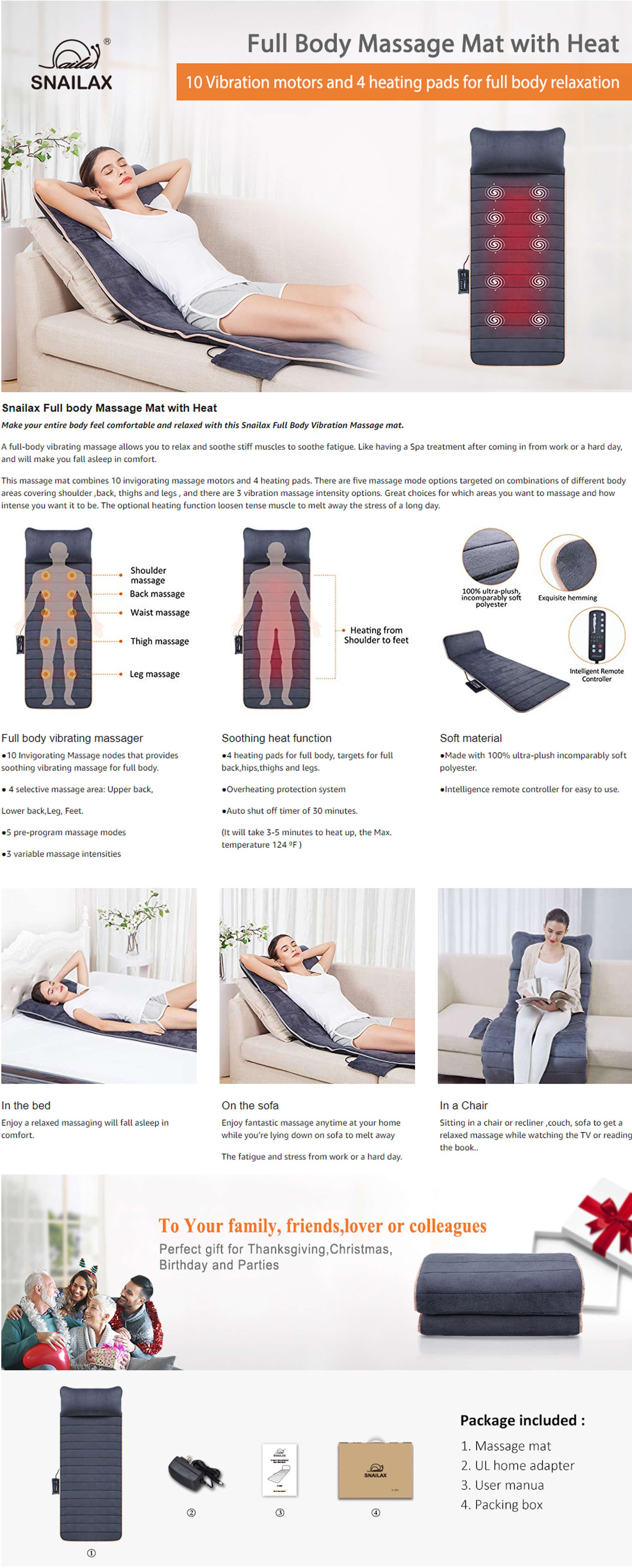 Snailax Vibration Massage Mat Features