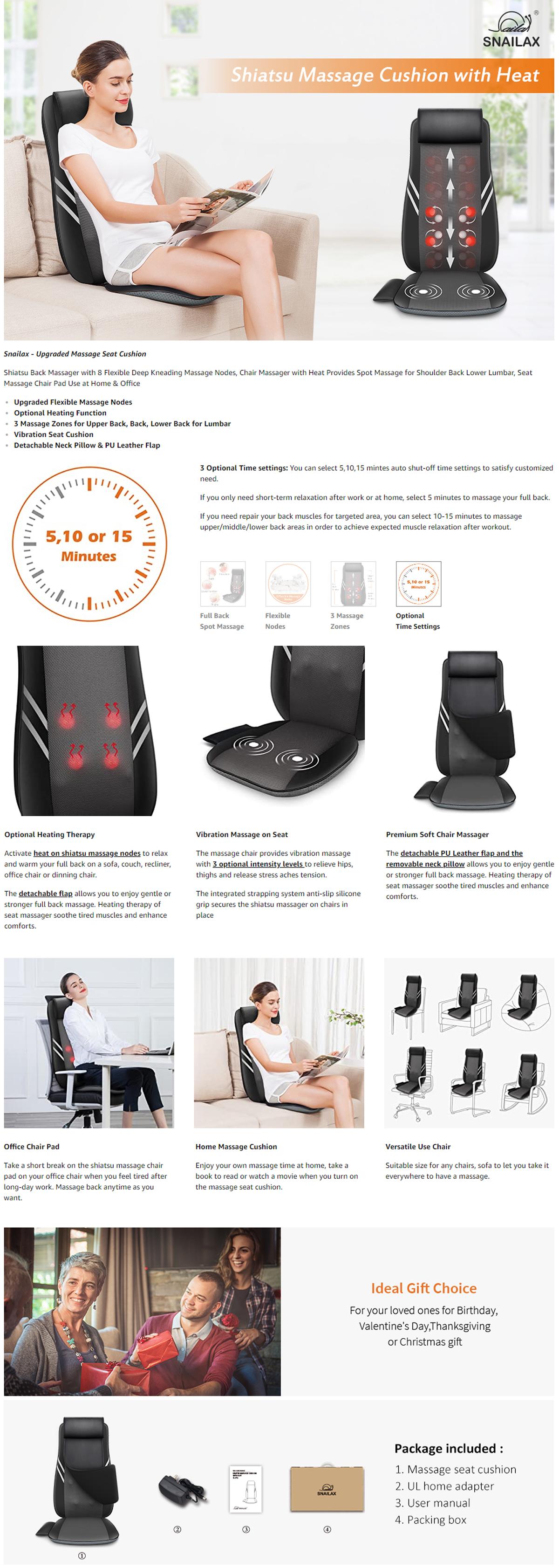 Advance Features Of Snailax Shiatsu Back Massager Pad