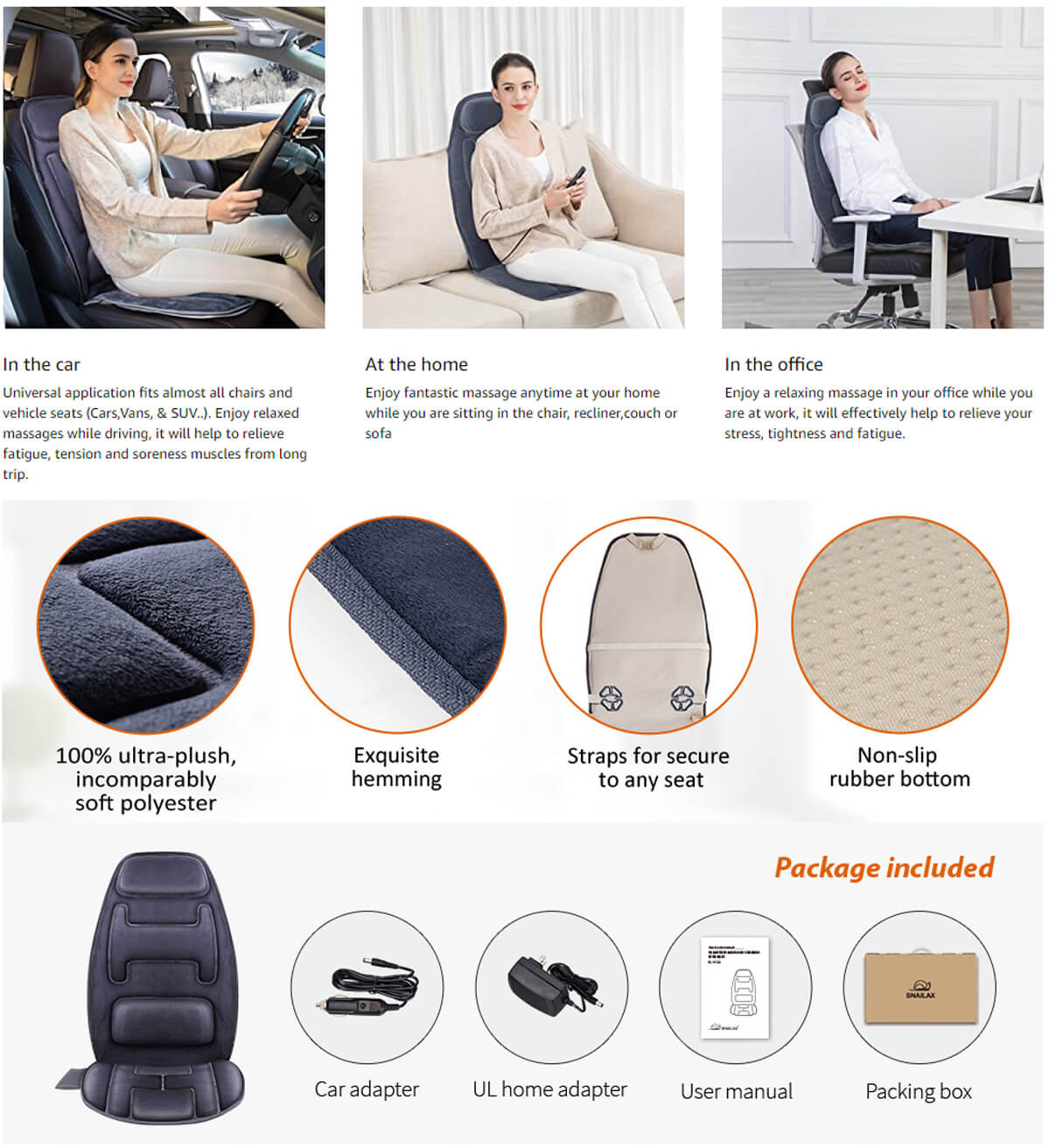 Snailax Massage Seat Cushion Uses
