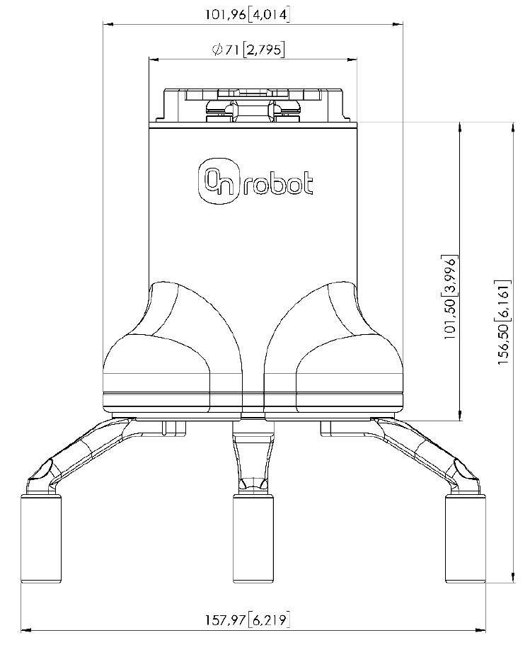 OnRobot 3FG15 side drawing