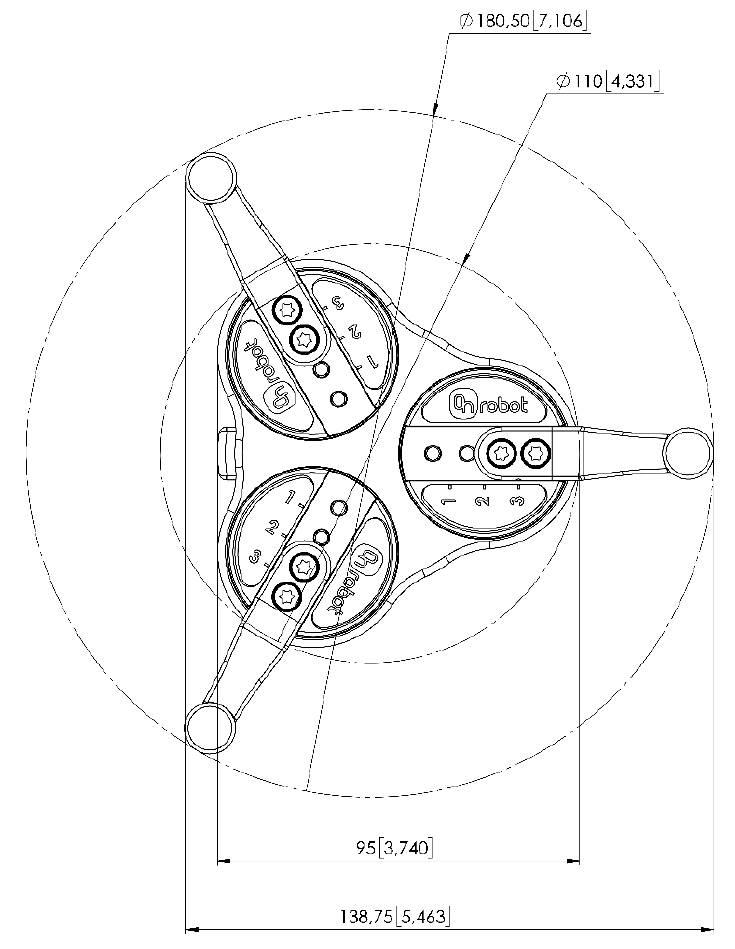 OnRobot 3FG15 bottom drawing