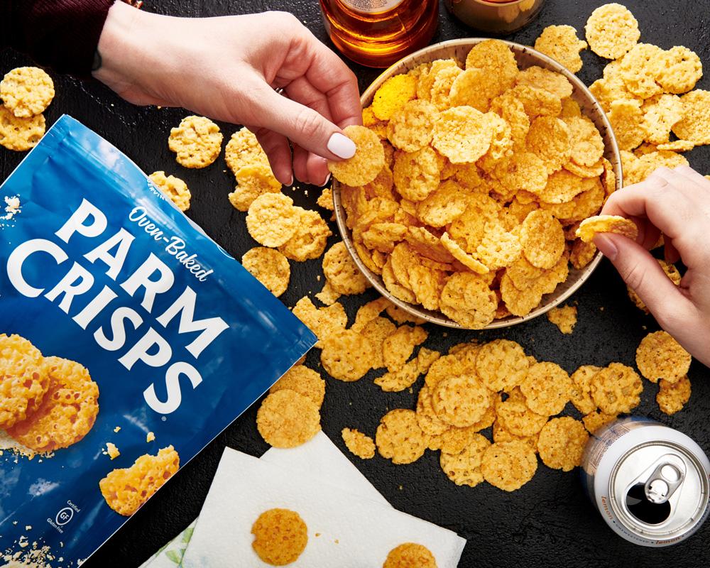 overhead shot of ParmCrisps Original chips in a bowl