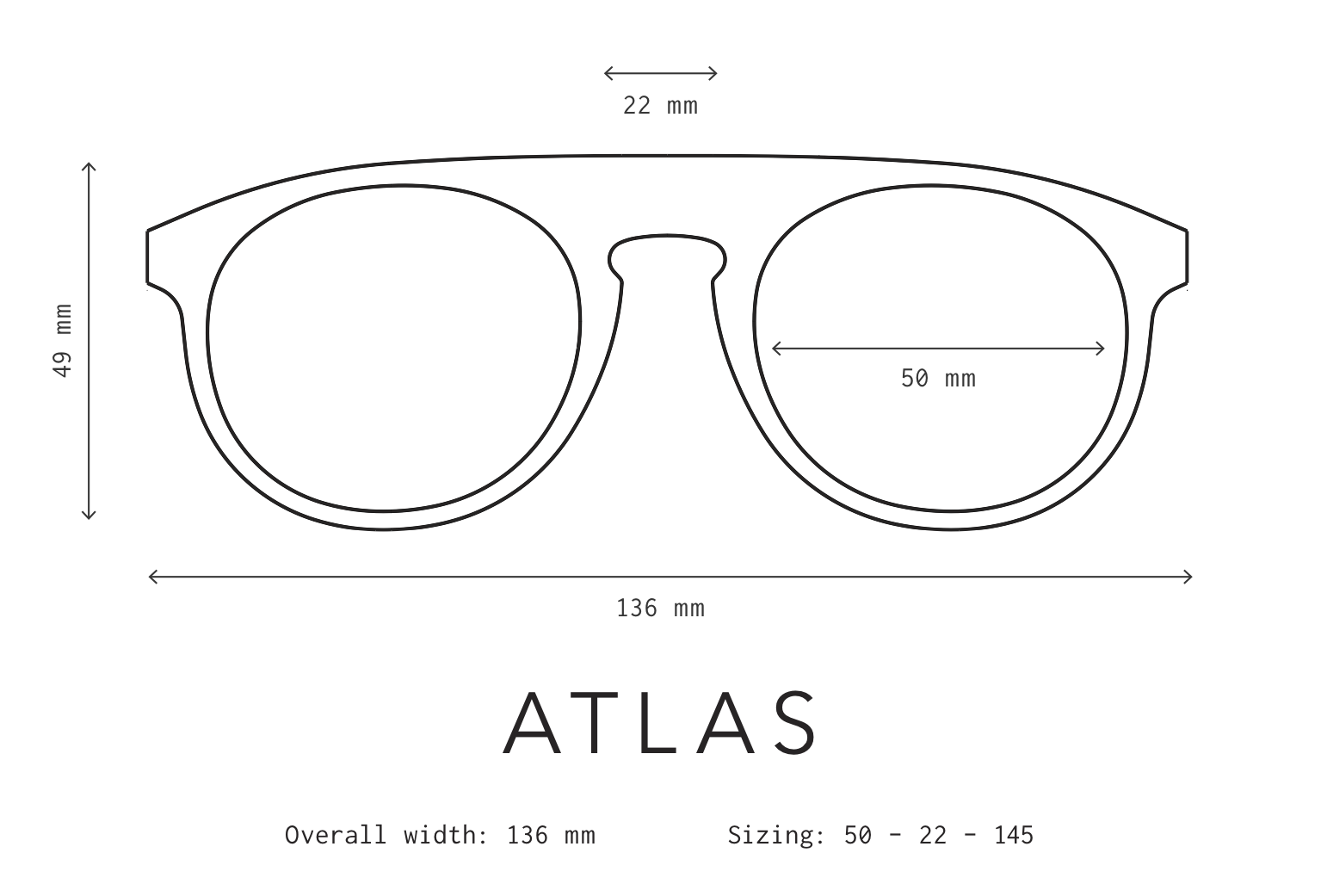 Atlas Sunglasses Frame Measurements