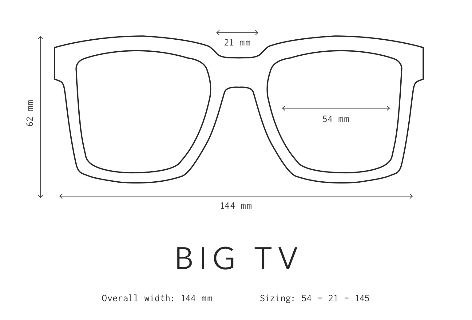 Big TV Sunglasses Sizing Information