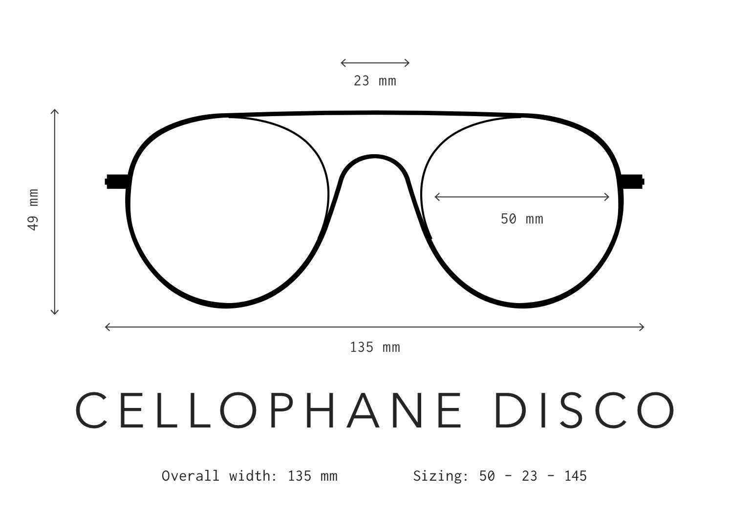 Cellophane Disco Sunglasses Sizing Information