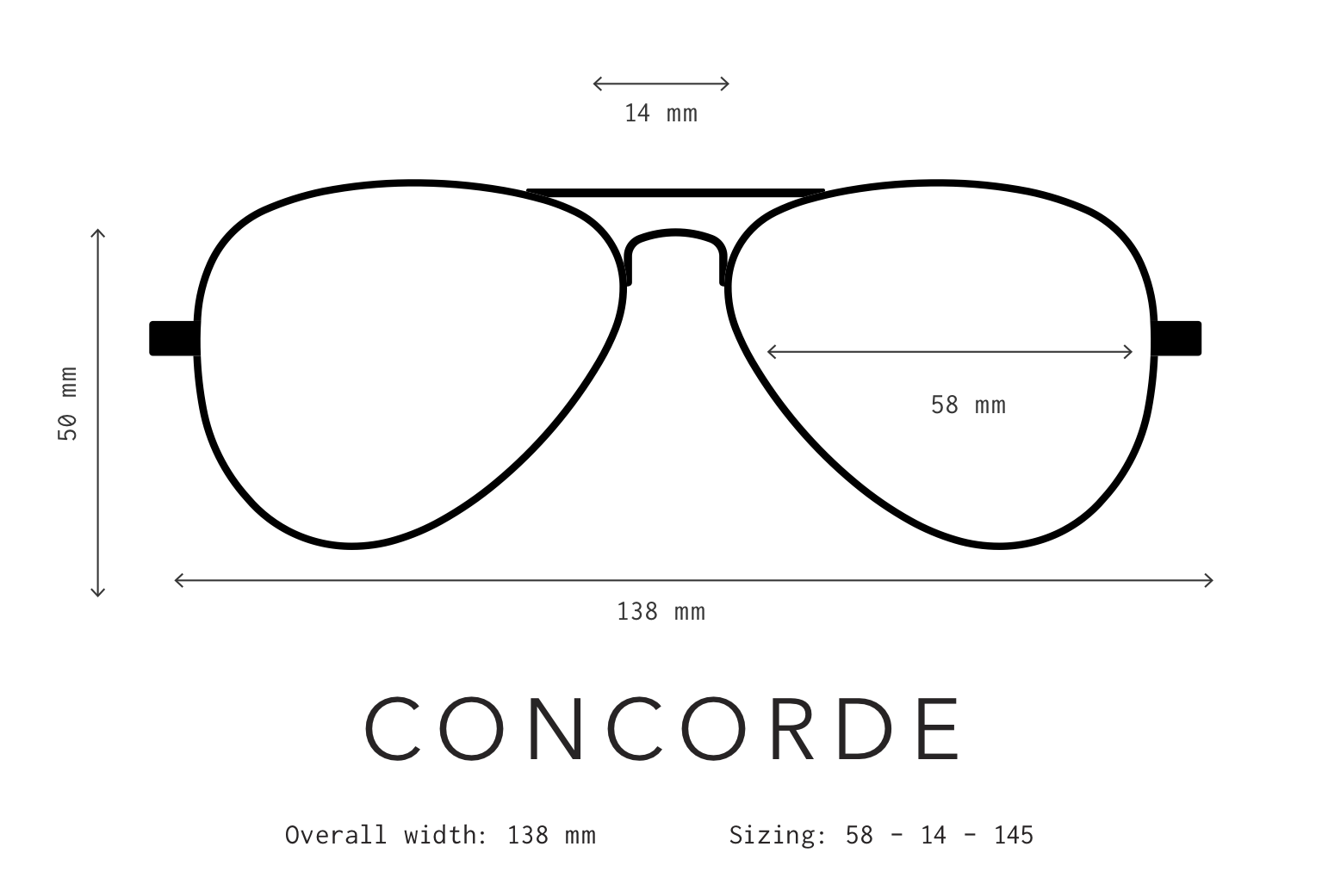 Concorde Sunglasses Sizing Information