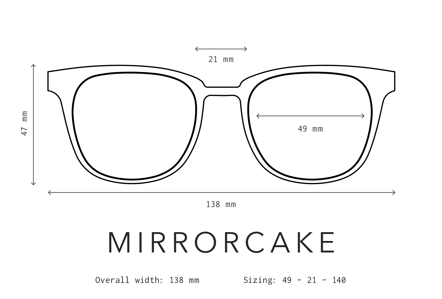 Mirrorcake Sunglasses Fit Information