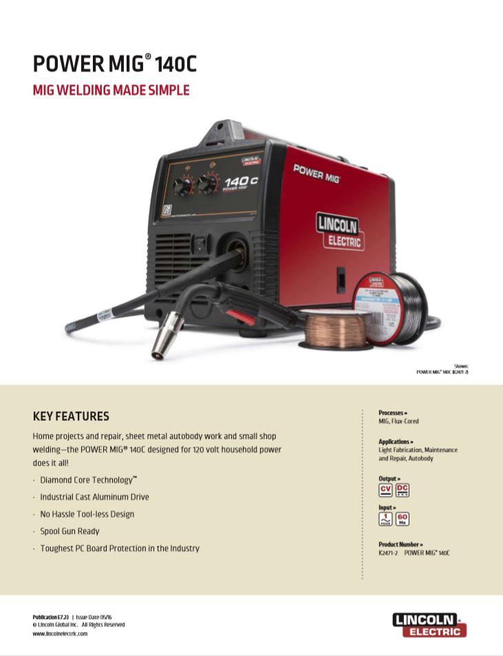 Power MIG 140C Spec