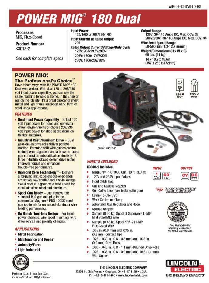 Power MIG 180 Dual Spec