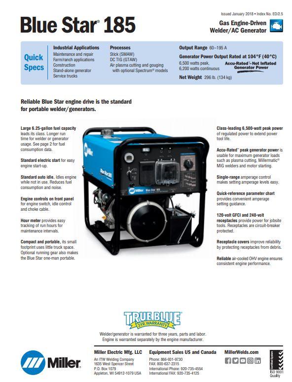 Blue Star 185 Spec Sheet