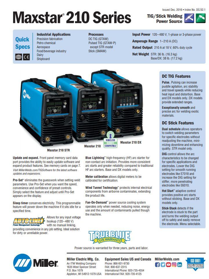 Maxstar 210 Spec Sheet