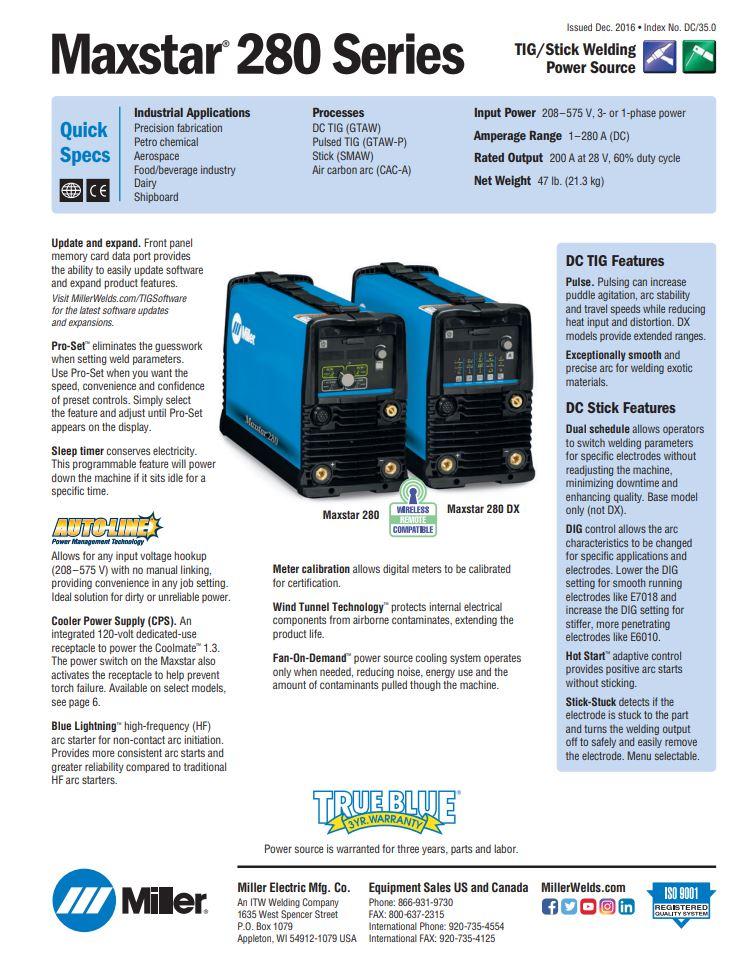 Maxstar 280 Spec Sheet