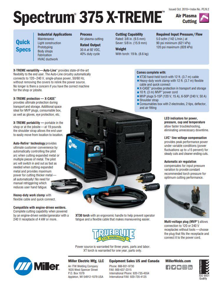 Spectrum 375 Plasma Spec Sheet