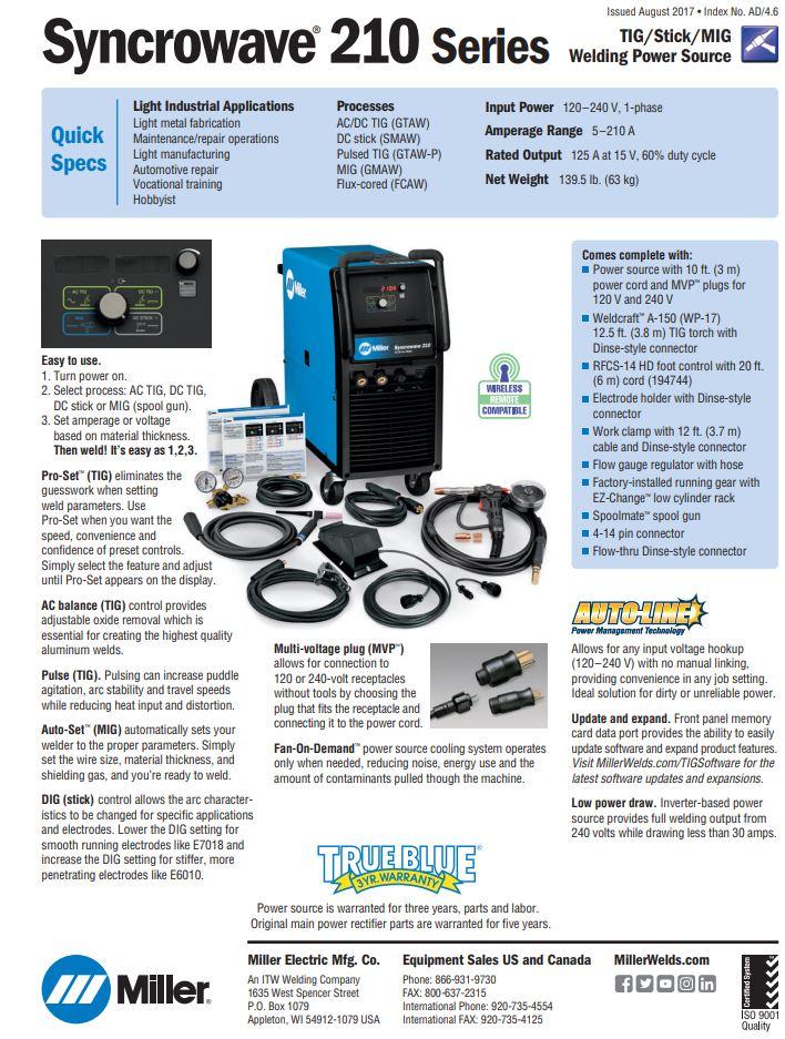 Syncrowave 210 Spec Sheet