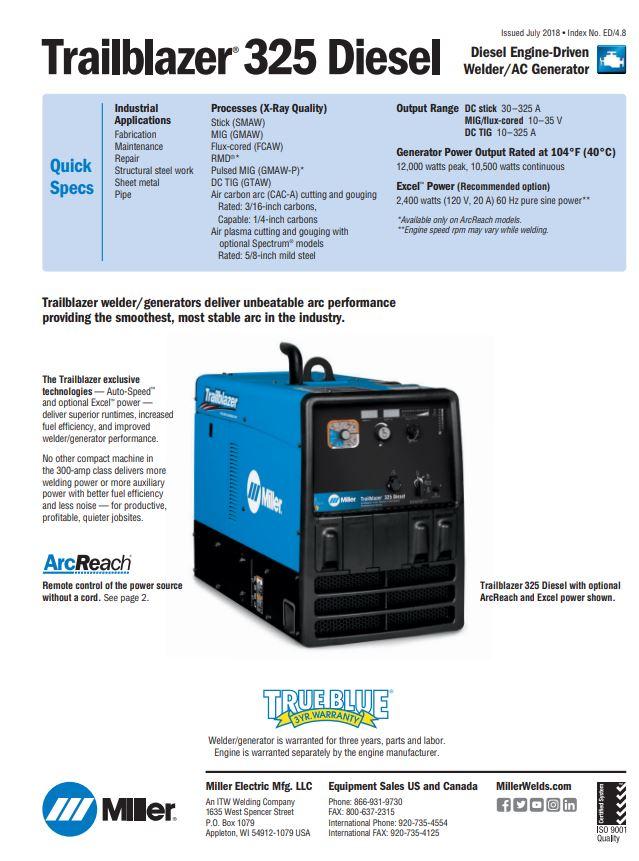 Trailblazer 325 Spec Sheet