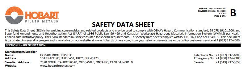 Hobart 6010 Safety Data Sheet (SDS)