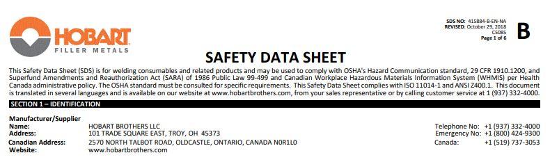 Hobart 6011 Safety Data Sheet