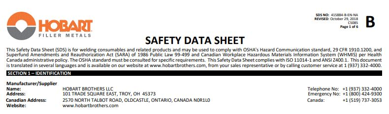 Hobart 6011 Safety Data Sheet (SDS)