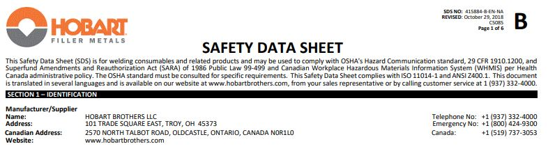 Hobart 6013 Safety Data Sheet (SDS)