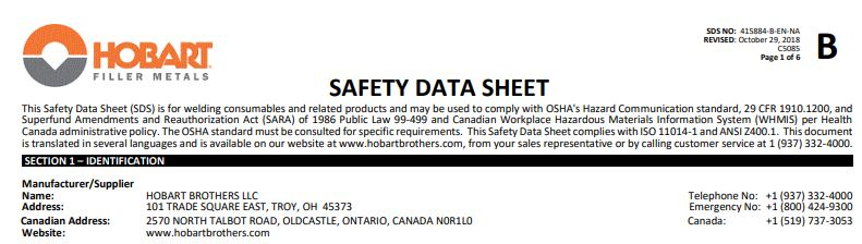 Hobart 7014 Safety Data Sheet (SDS)