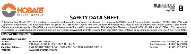 Hobart 7018 Safety Data Sheet (SDS)