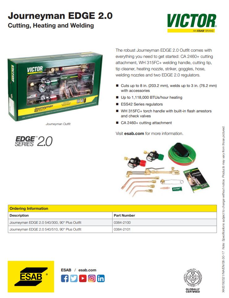 Victor Journeyman EDGE 2.0 Spec Sheet