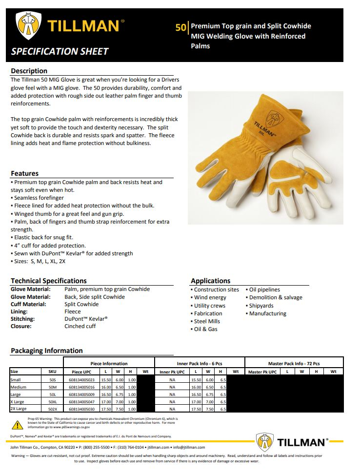 Tillman 50 Gloves Product Sheet