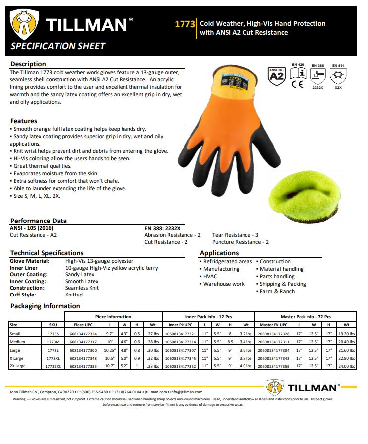 Tillman 1773 Product Sheet