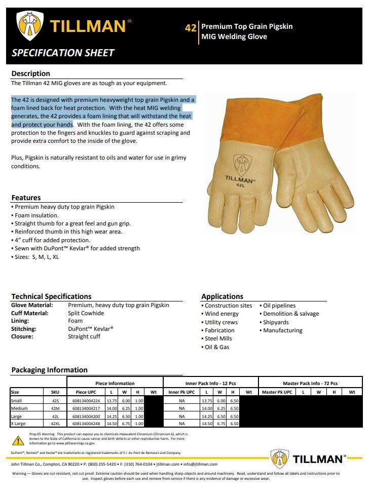 Tillman 42 Product Sheet