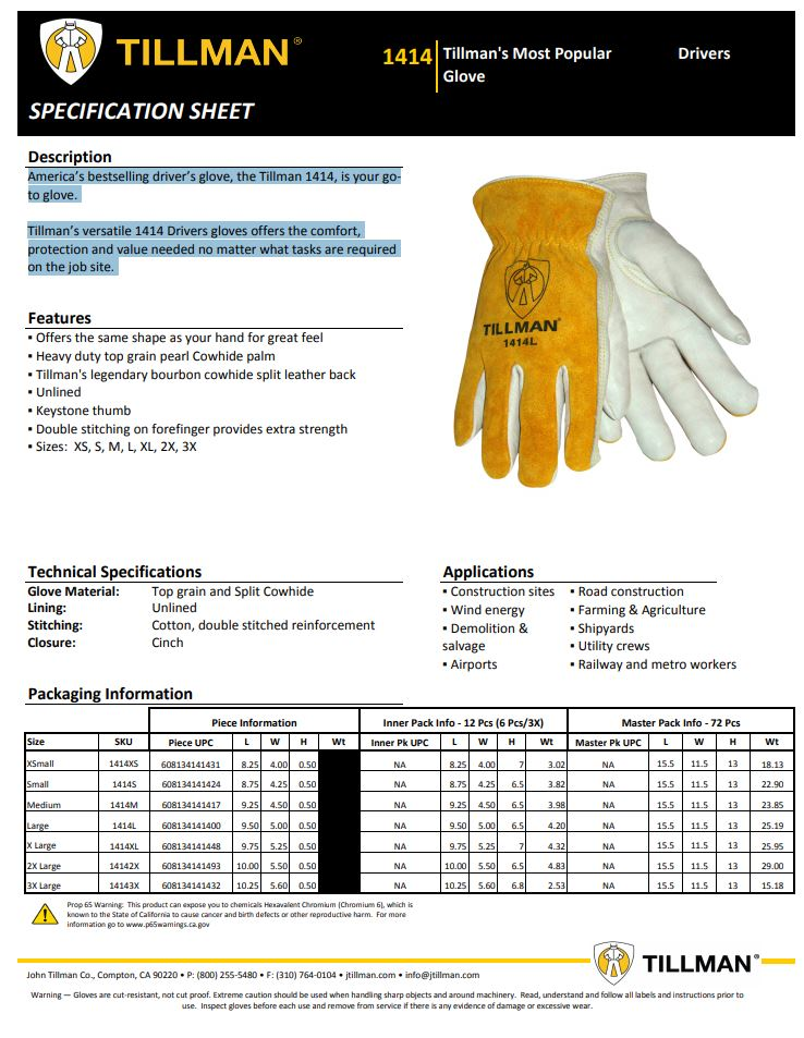 Tillman 1414 Product Sheet