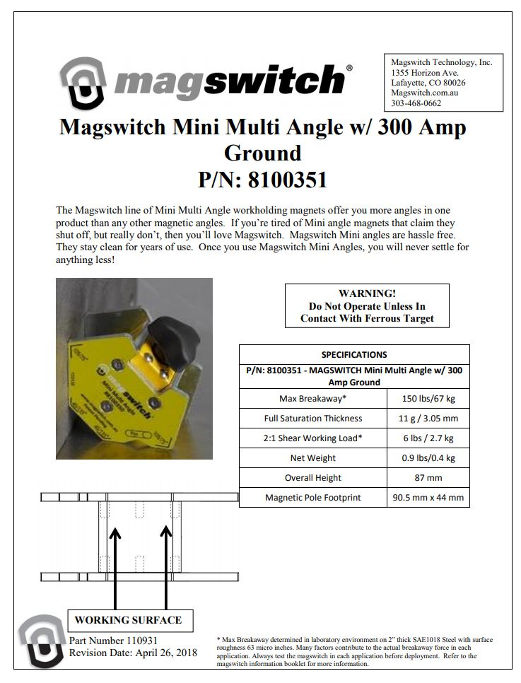 Multi Magswitch Angle 300 Amp
