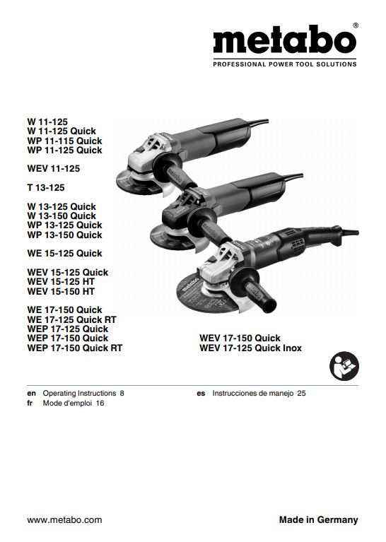 Metabo W 11-125 Product Guide