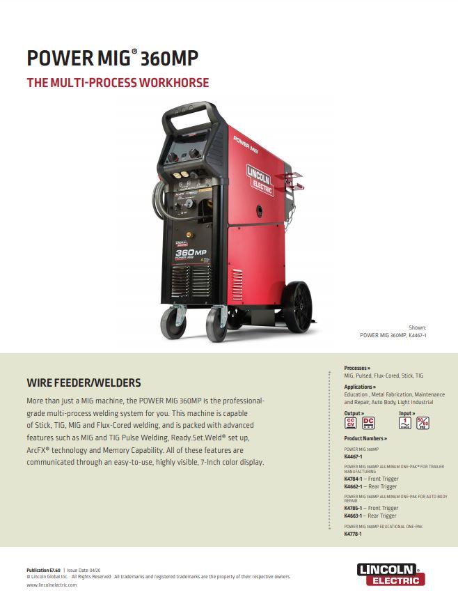 POWERMIG 360MP Product Spec Sheet