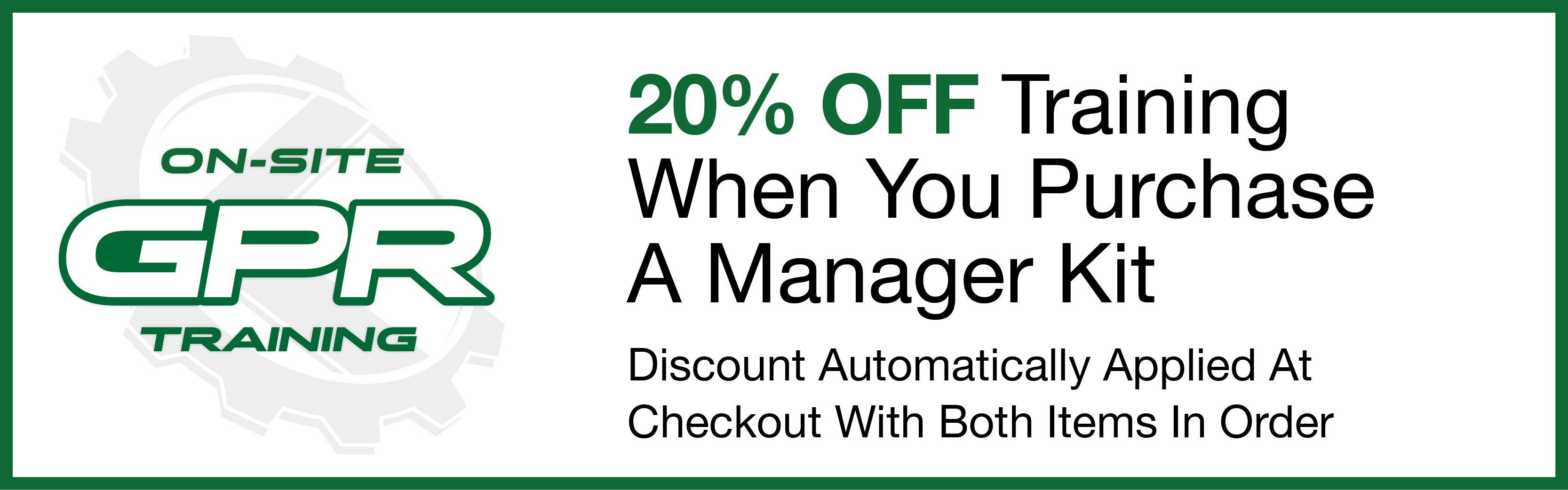 20% Off Training When You Purchase A Manager Kit - Discount Automatically Applied At Checkout With Both Items In Order
