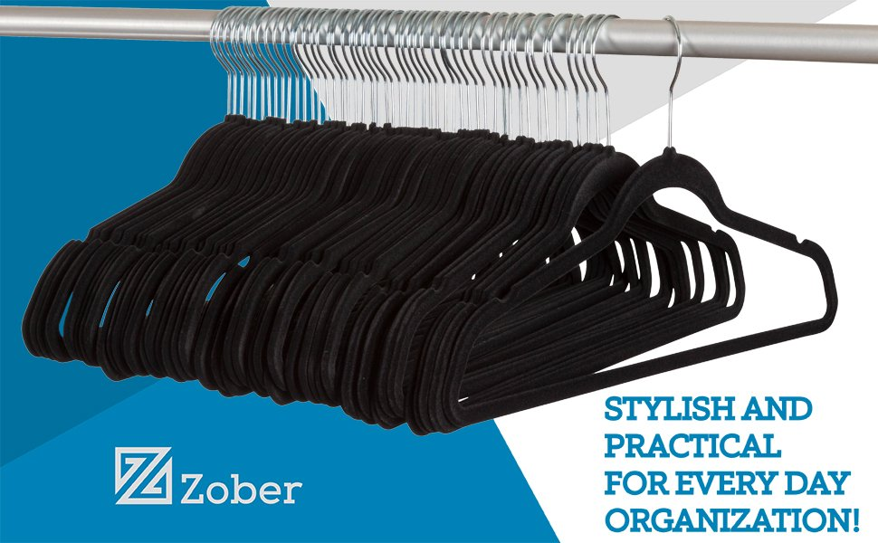 ZOBER Non-Slip Velvet Hangers - Suit Hangers (100 Pack) Ultra Thin Space Saving 360 Degree Swivel Hook Strong and Durable Clothes Hangers Hold Up-to 10 Lbs, for Coats, Jackets, Pants, Dress Clothes