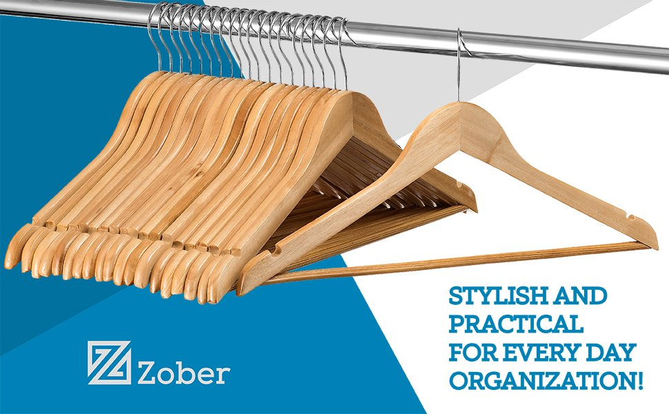 Solid Natural Wood Suit Hangers - 20 Pack
