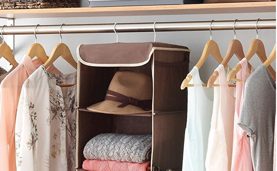 5 Shelf Hanging Closet Organizer Space Saver,  12 x 11 ½ x 42 In, java,