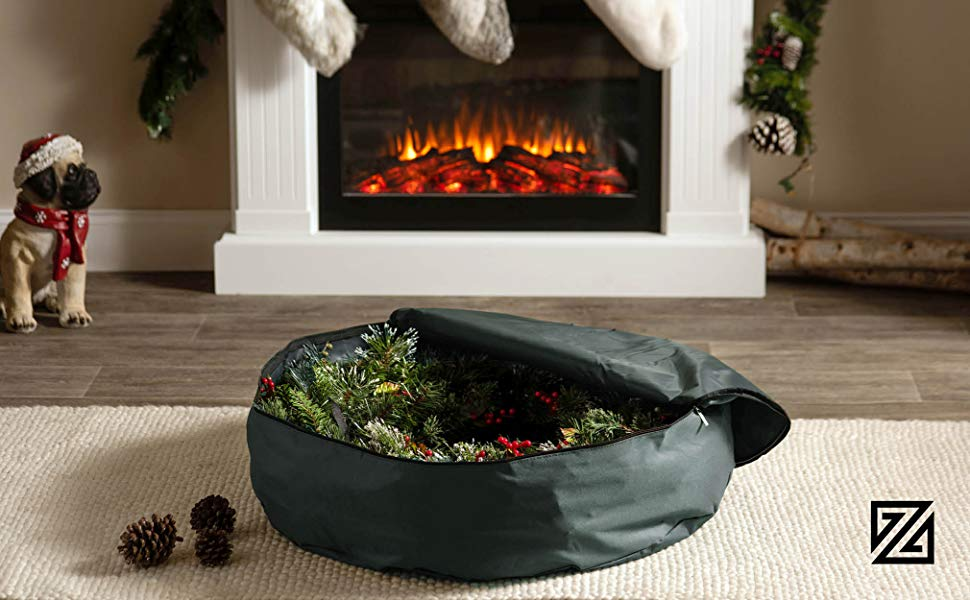 Premium Christmas Holiday Wreath Storage Bag, 30 x 30 x 8 (Green)