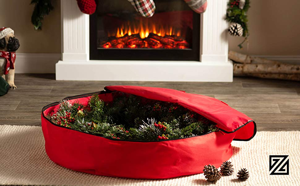 Premium Christmas Holiday Wreath Storage Bag, 36 x 36 x 8 (Red)