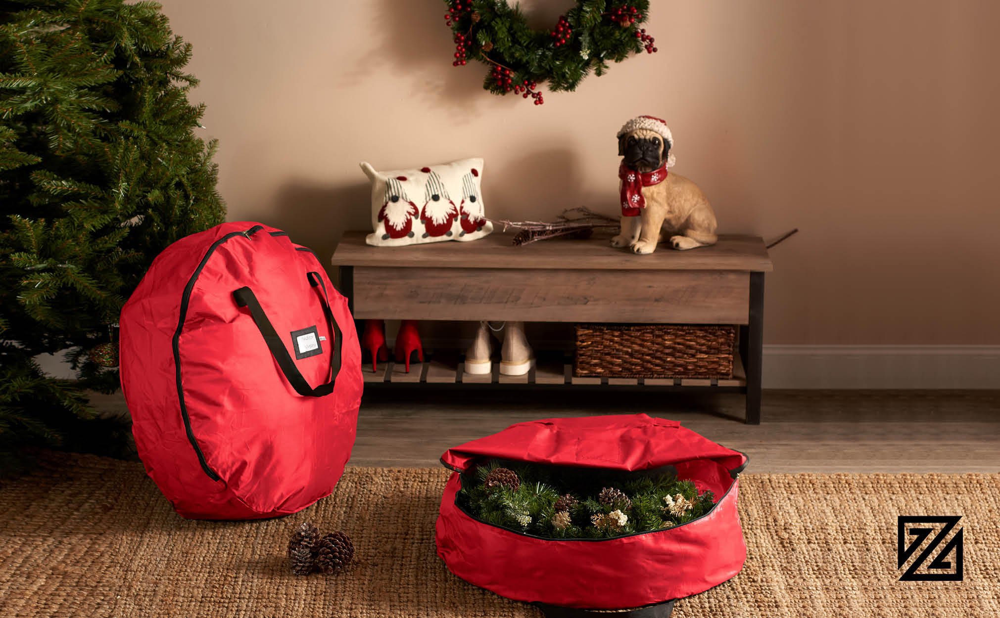 """2-Pack Premium Christmas Holiday Wreath Storage Bag, 30"""" x 30"""" x 8"""".(Red)"""