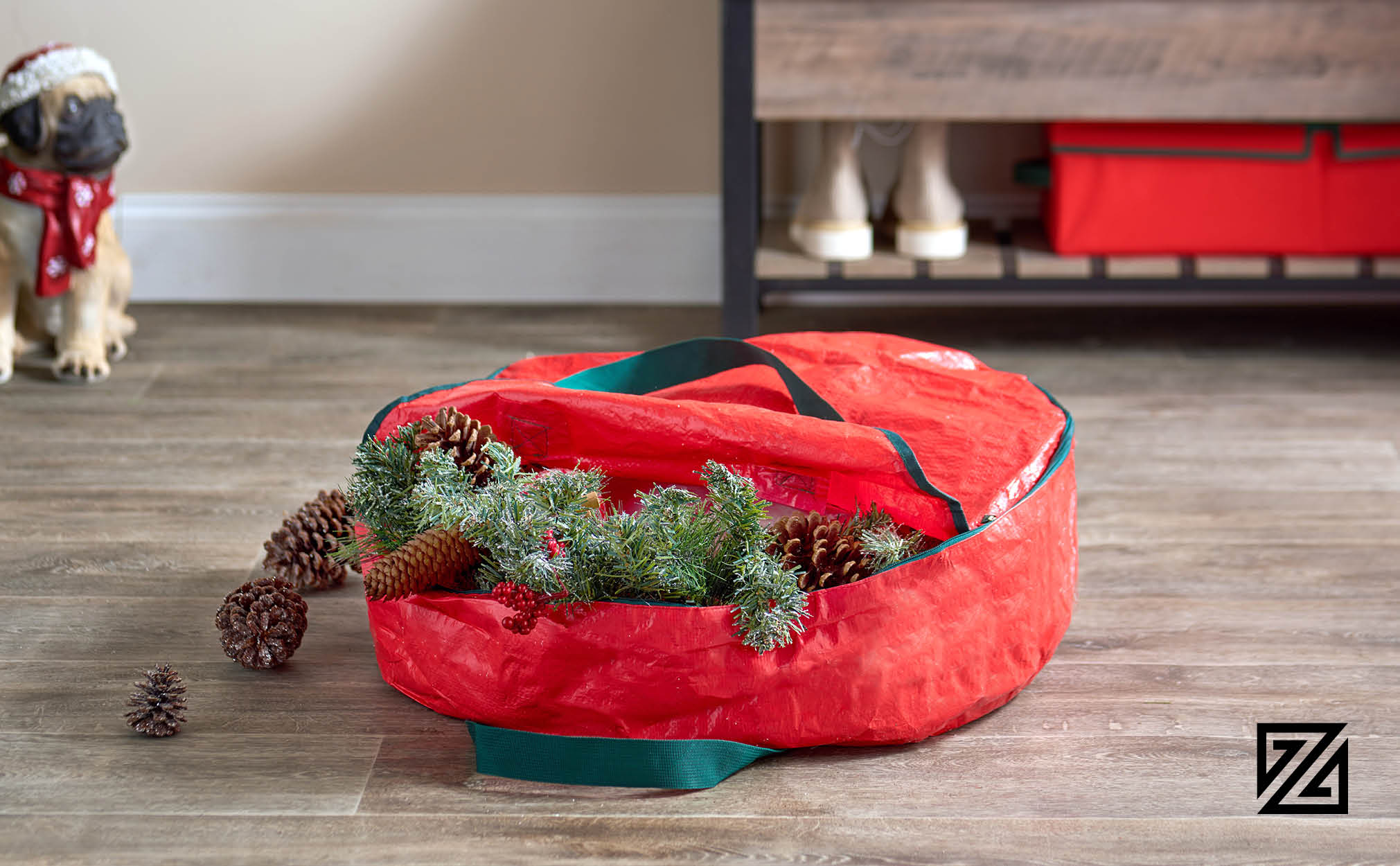 "Premium Christmas Holiday Wreath Storage Bag, 24"" x 24"" x 7"".(Red)"