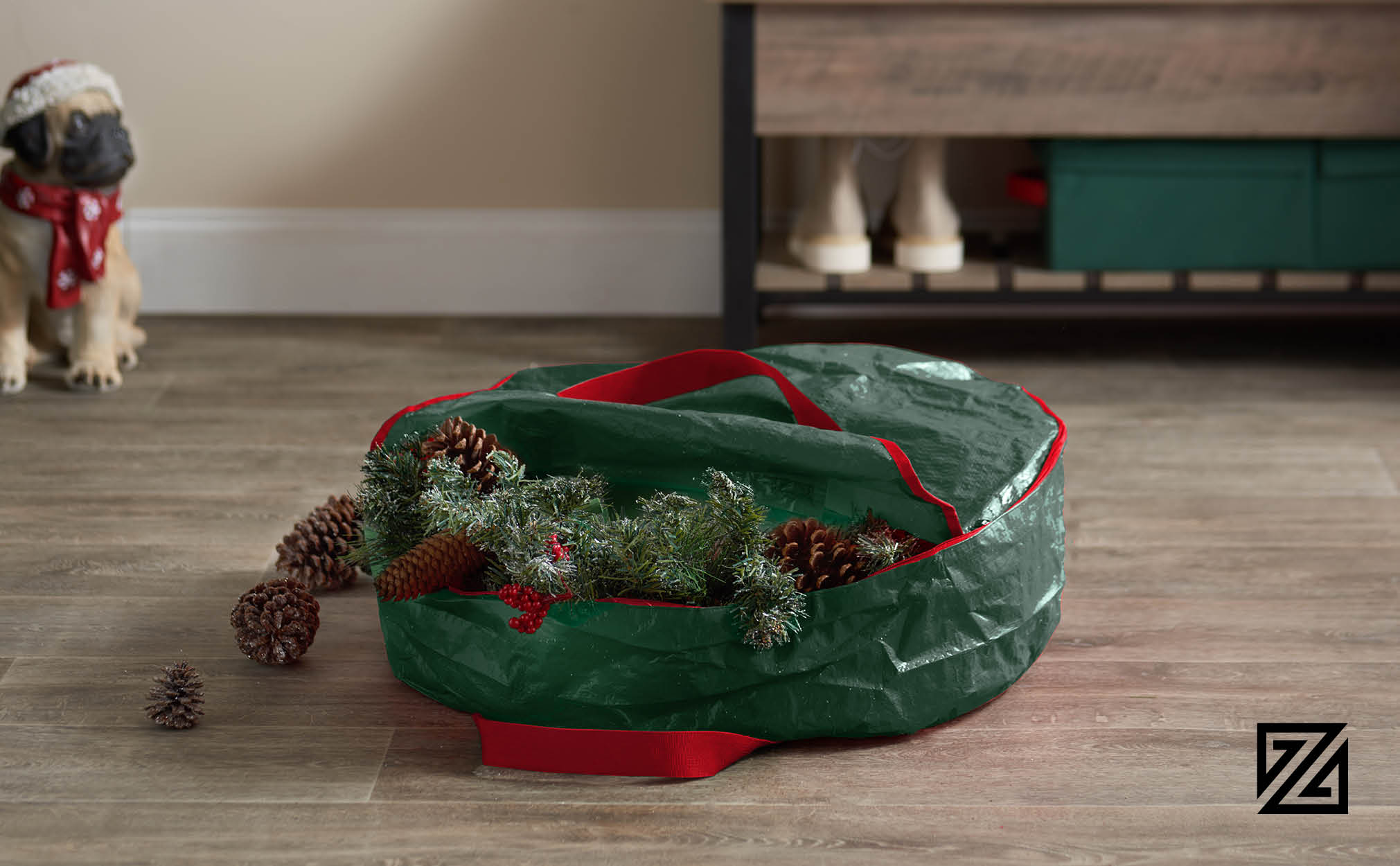"Premium Christmas Holiday Wreath Storage Bag, 24"" x 24"" x 7"".(Green)"