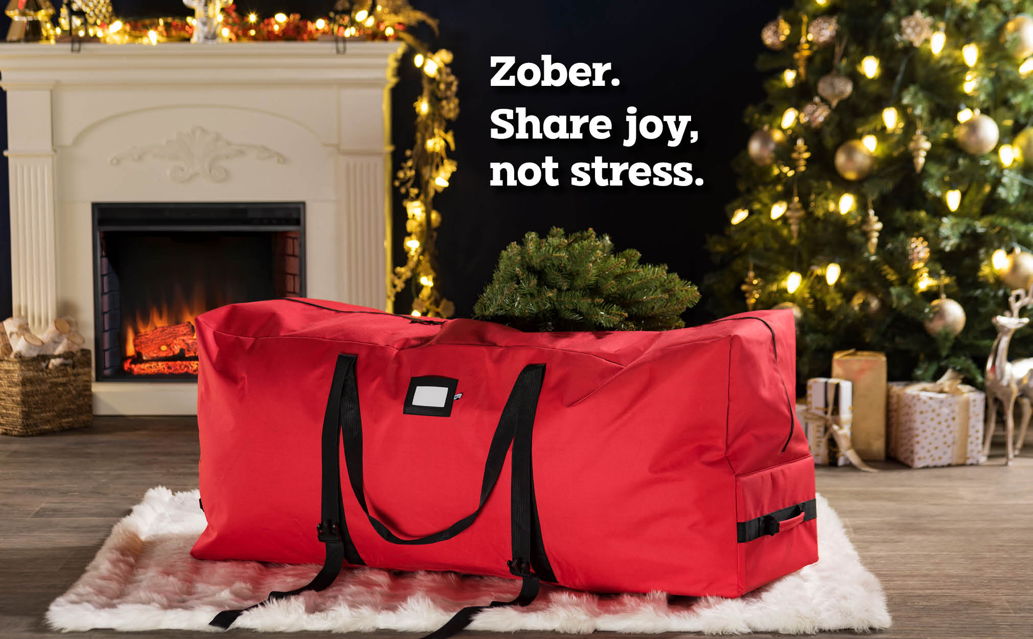 7.5 ft  Rolling extra Large Christmas Tree Storage Bag, (Red)