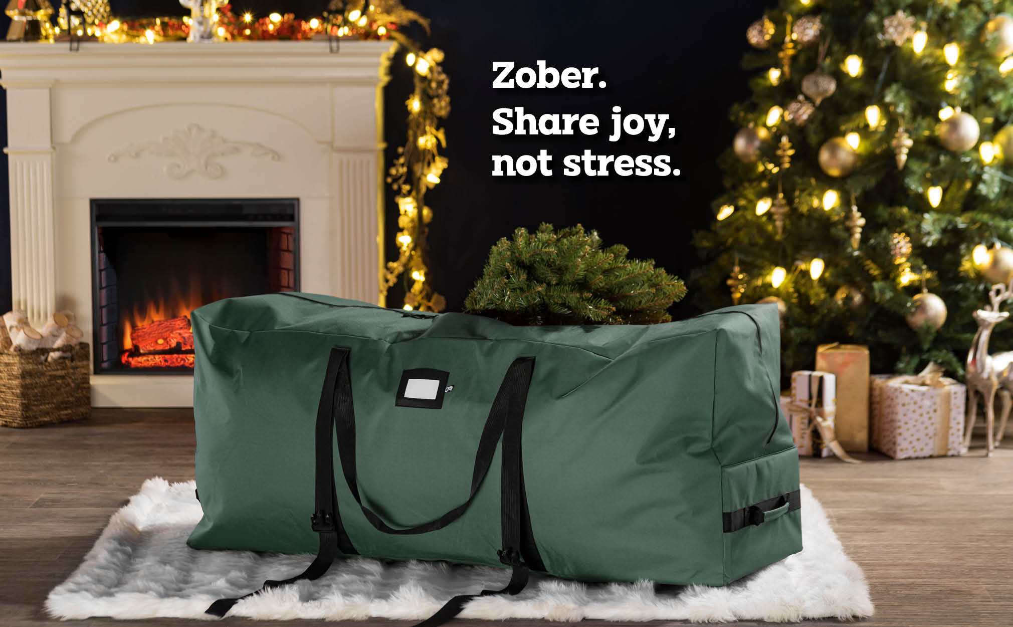7.5 ft  Rolling extra Large Christmas Tree Storage Bag, (Green)