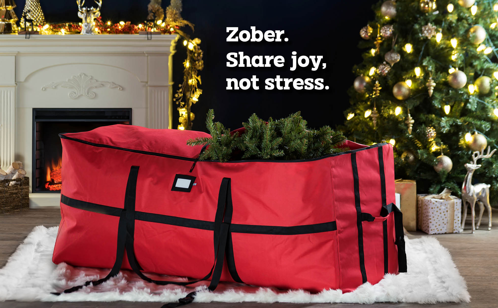 9 ft. Extra large Wide Opening Christmas Tree Storage Bag, (Red)