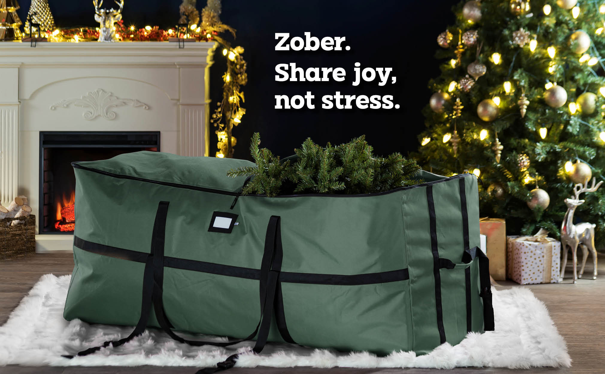 9 ft. Extra large Wide Opening Christmas Tree Storage Bag, (Green)