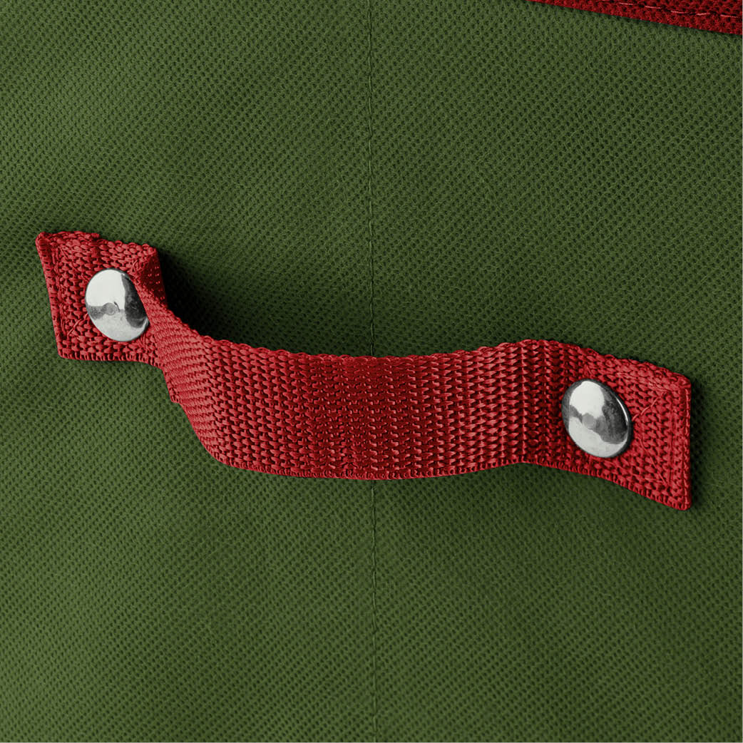 Rivet and stitch-secured handles