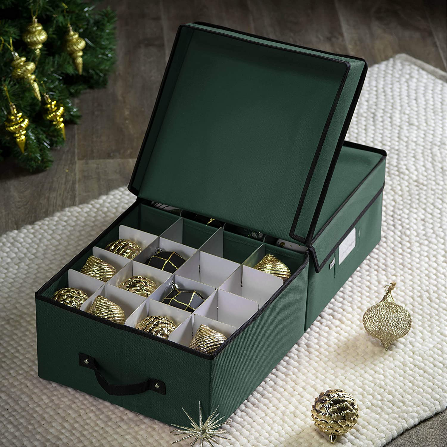 Underbed Ornament Storage Box for 64, Polyester 6.5